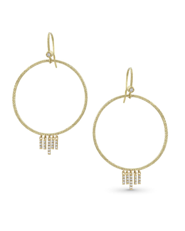 18k Gold Diamond Chevron Drop Earrings