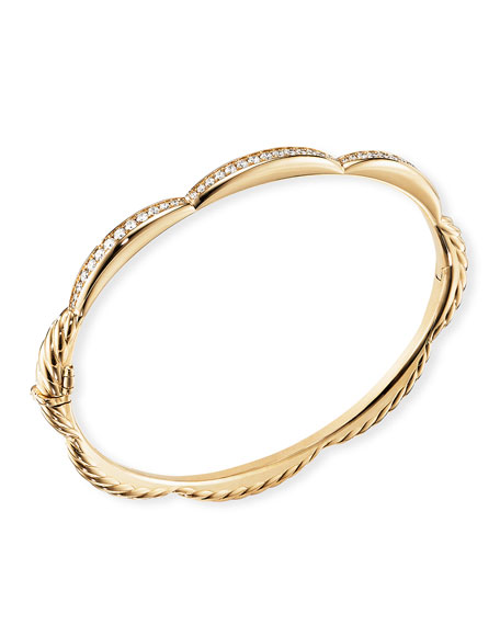David Yurman Tides 18k Gold Triple Diamond Station Bangle, Size L