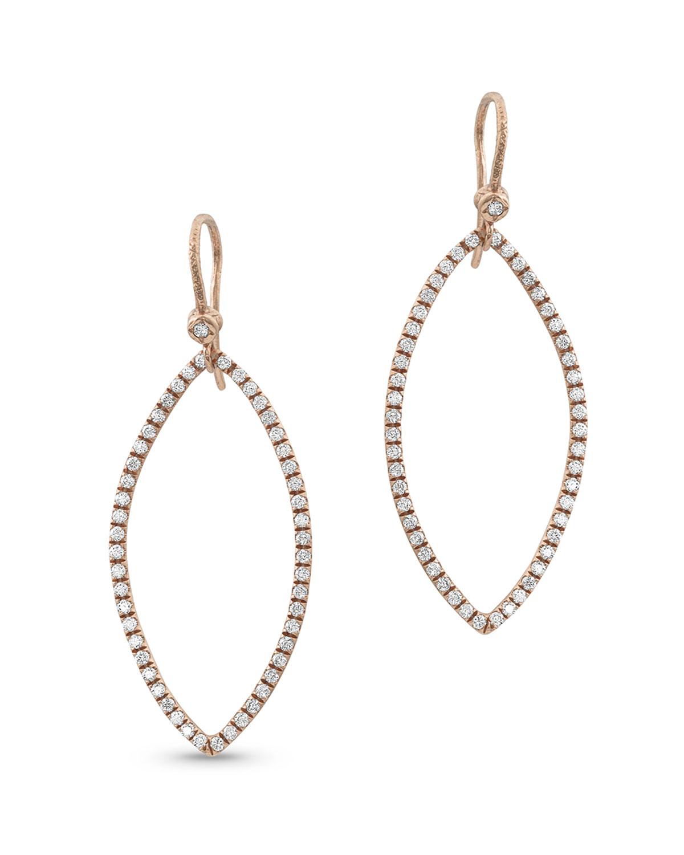 18k Rose Gold Diamond Marquise Earrings