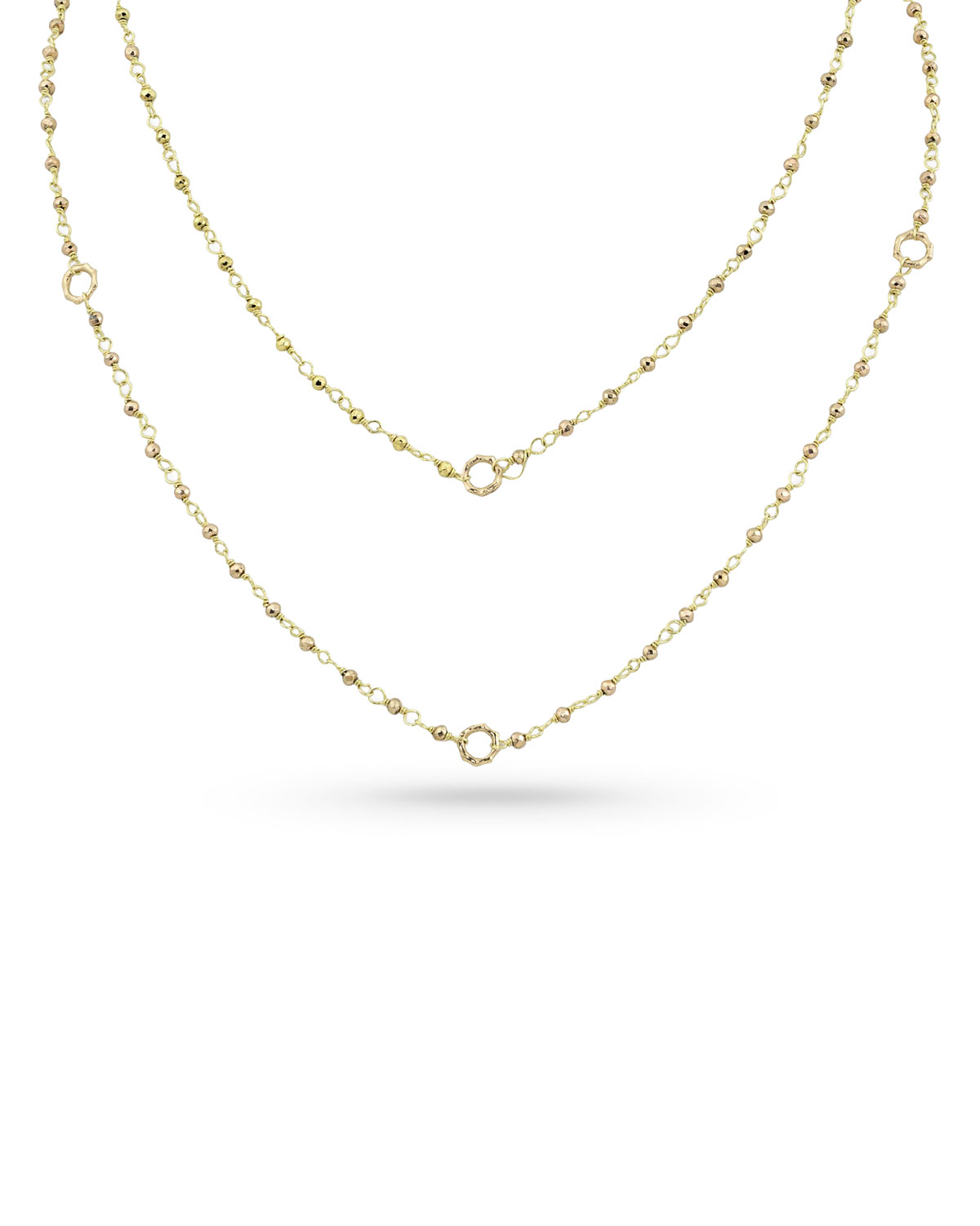 18k Gold Yellow Pyrite & Bamboo Link Necklace