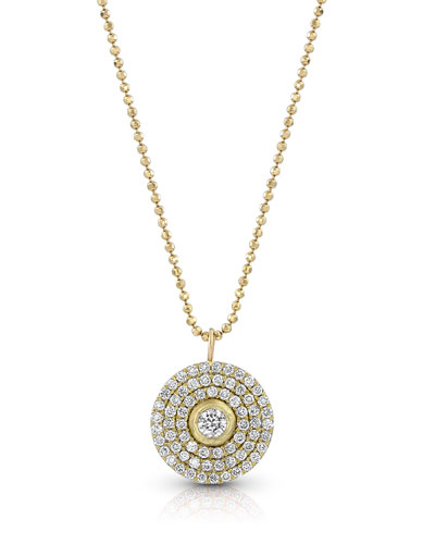 18k Gold Mosaic Diamond Pendant Necklace (Medium)