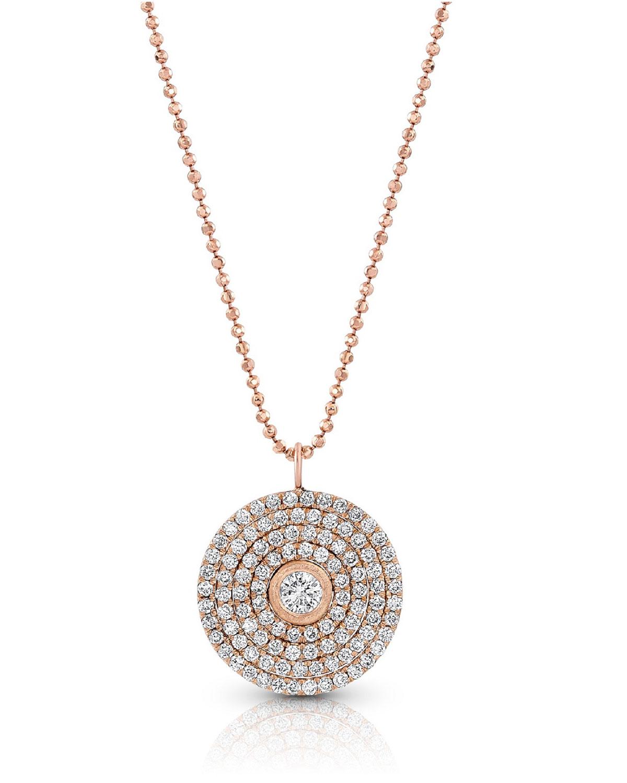 18k Rose Gold Mosaic Diamond Pendant Necklace (Large)