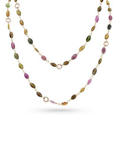 18k Rose Gold Tourmaline & Bamboo Link Necklace, 42