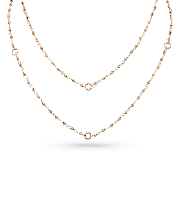 18k Rose Gold Rose Pyrite & Bamboo Link Necklace