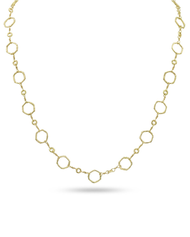 18k Gold Hexagonal Chain Necklace