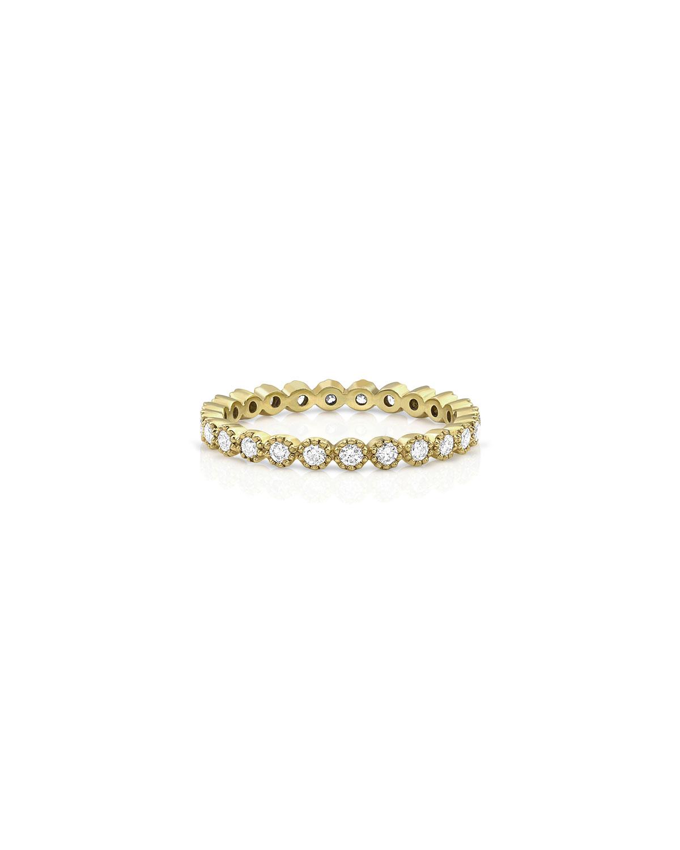18k Yellow Gold Diamond Milgrain Stacking Ring (Delicate)