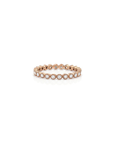 18k Rose Gold Milgrain Diamond Stacking Ring (Small)
