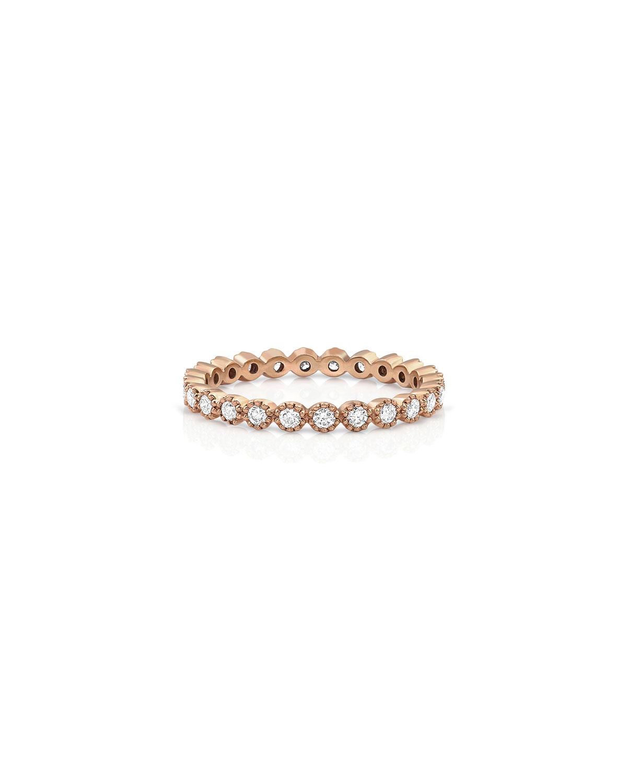 18k Rose Gold Diamond Milgrain Stacking Ring (Delicate)