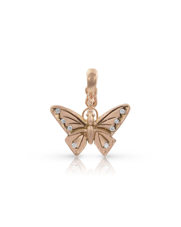 18k Rose Gold Diamond Butterfly Pendant