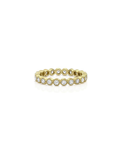 18k Gold Milgrain Diamond Stacking Ring (Large)