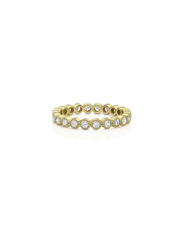 18k Yellow Gold Diamond Milgrain Stacking Ring (Large)