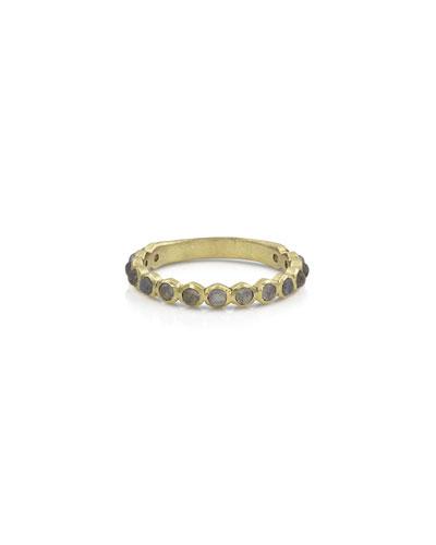 18k Gold Labradorite Stack Ring, Size 7