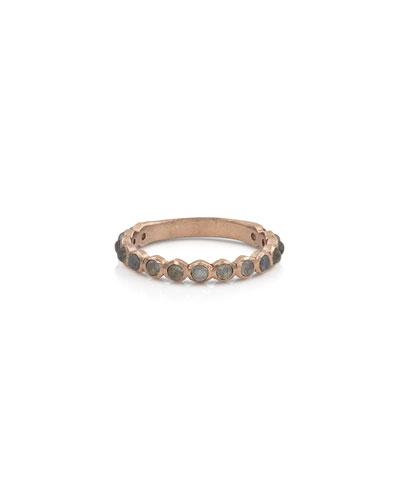 18k Rose Gold Labradorite Stack Ring, Size 7