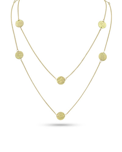 Griffin Coin 18k Gold Long Necklace, 42