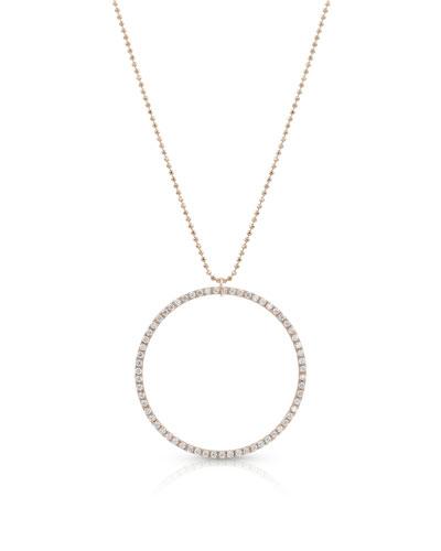 18k Rose Gold Diamond Hoop Pendant Necklace (Large)