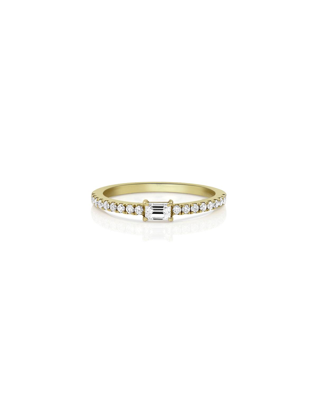 18k Gold Diamond Baguette Stacking Ring
