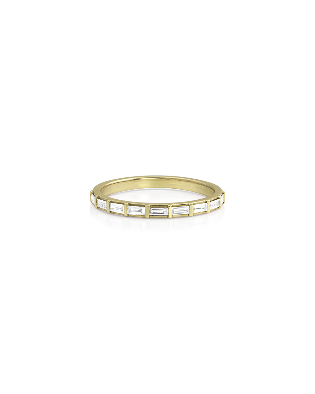14k Gold Baguette-Diamond Halfway Ring