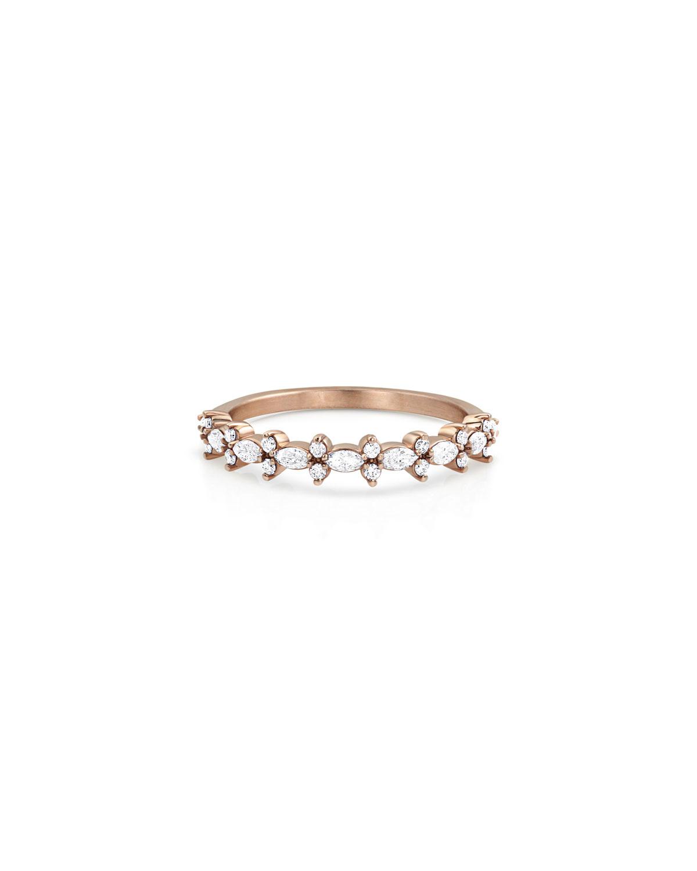 18k Rose Gold Diamond Crown Stack Ring