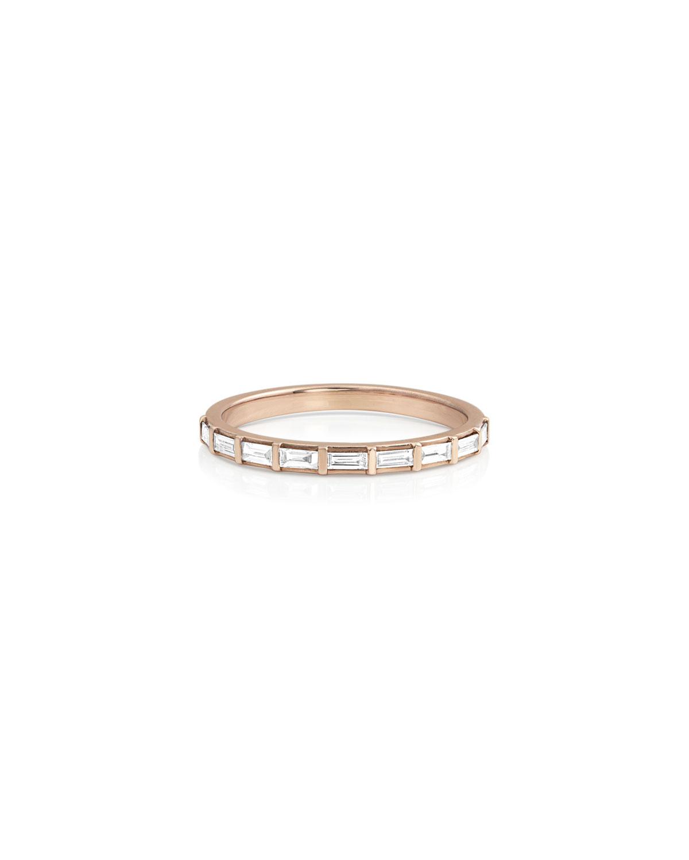 14k Rose Gold Baguette-Diamond Halfway Ring