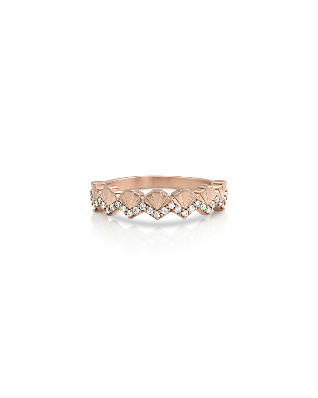 14k Rose Gold Diamond Deco Fan Ring