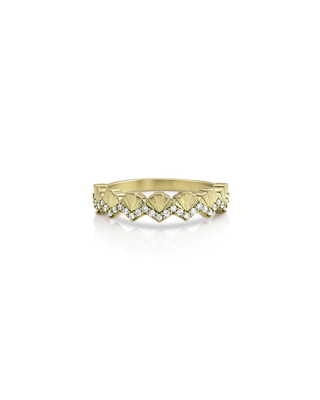 14k Gold Diamond Deco Fan Ring