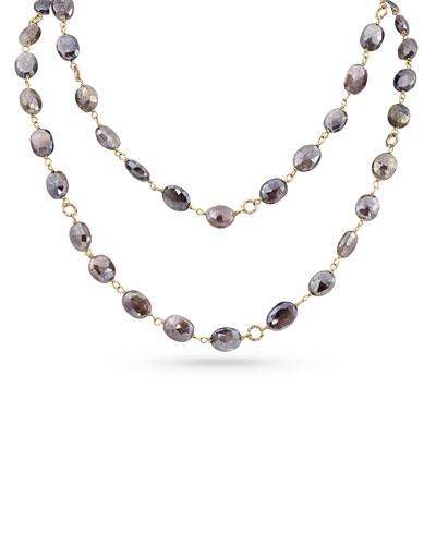 18k Rose Gold Pink Moonstone Long Necklace, 42