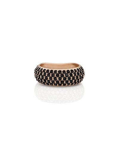 18k Rose Gold Black Diamond Ring, Size 7