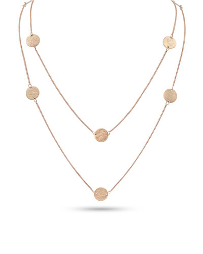 Griffin Coin 18k Rose Gold Long Necklace, 42