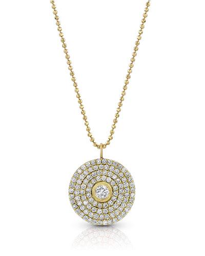 18k Gold Mosaic Diamond Pendant Necklace (Large)