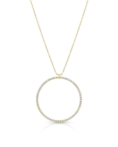 18k Gold Diamond Hoop Pendant Necklace (Large)