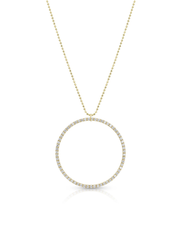 18k Yellow Gold Diamond Halo Pendant Necklace (Large)