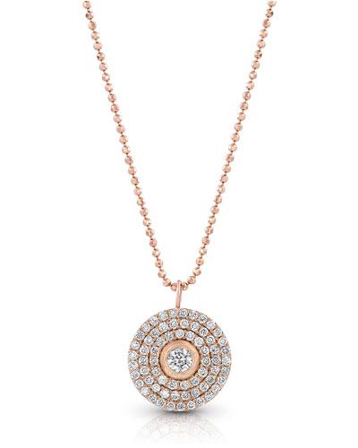18k Rose Gold Mosaic Diamond Pendant Necklace (Medium)