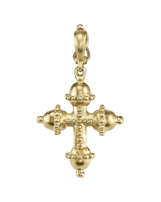Small 18k Granulated Cross Charm