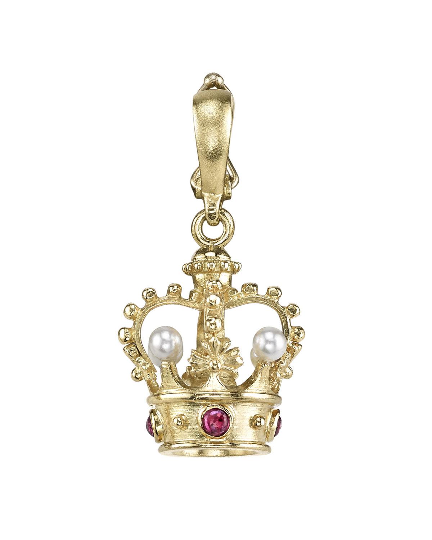 18k Pearl & Ruby Crown Pendant
