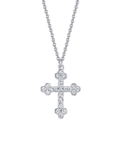 18k White Gold Diamond Cross Pendant Necklace
