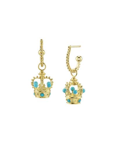 18k Gold Turquoise Crown Hoop-Drop Earrings