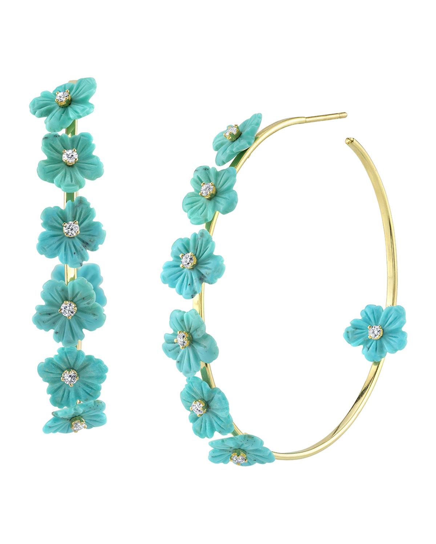 18k Gold Turquoise & Diamond Flower Hoop Earrings