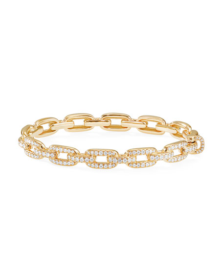 David Yurman Stax 18k Gold Diamond Link Bracelet, Size L