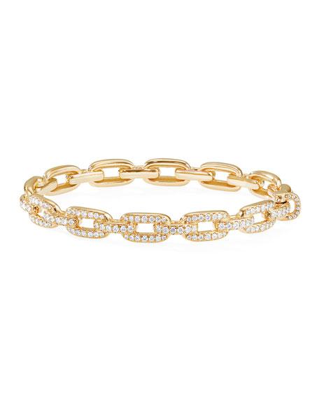 David Yurman Stax 18k Gold Diamond Link Bracelet, Size M
