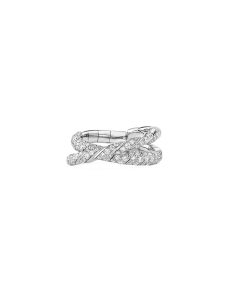 David Yurman Paveflex 18k White Gold 2-Row Diamond Ring, Size 6-7