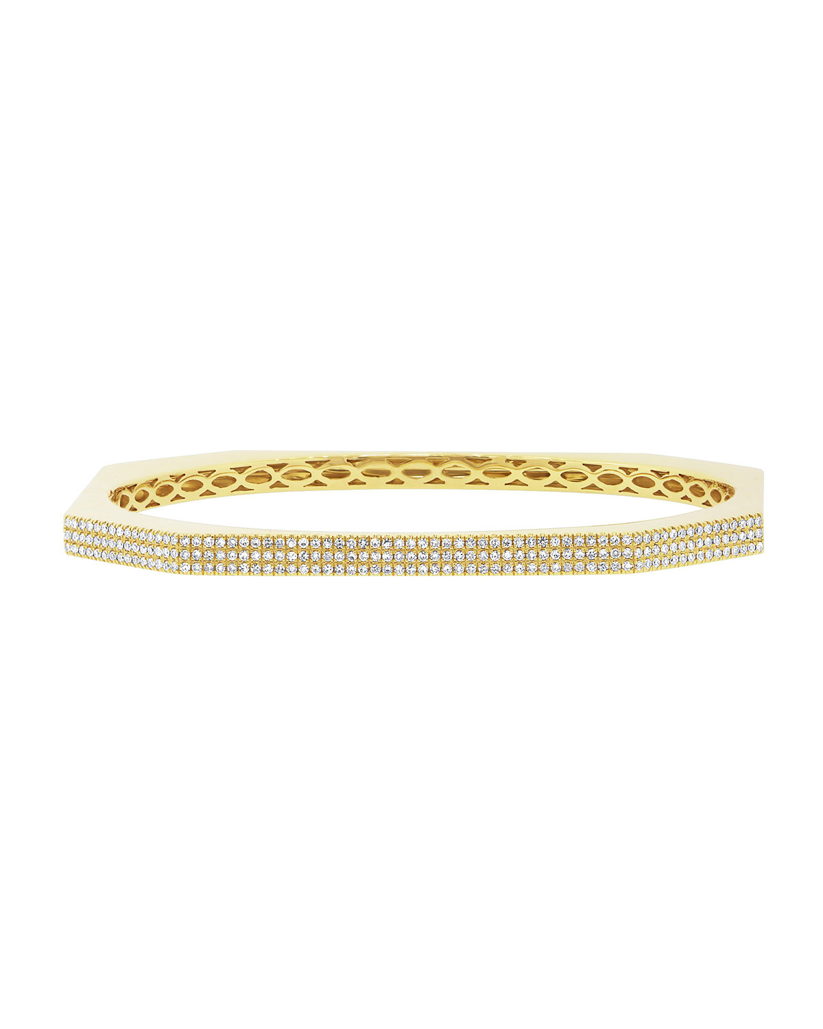 RON HAMI Skyscraper 14K Gold 3-Row Diamond Bangle