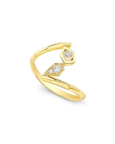 14k Gold Asymmetric Diamond & Opal Ring