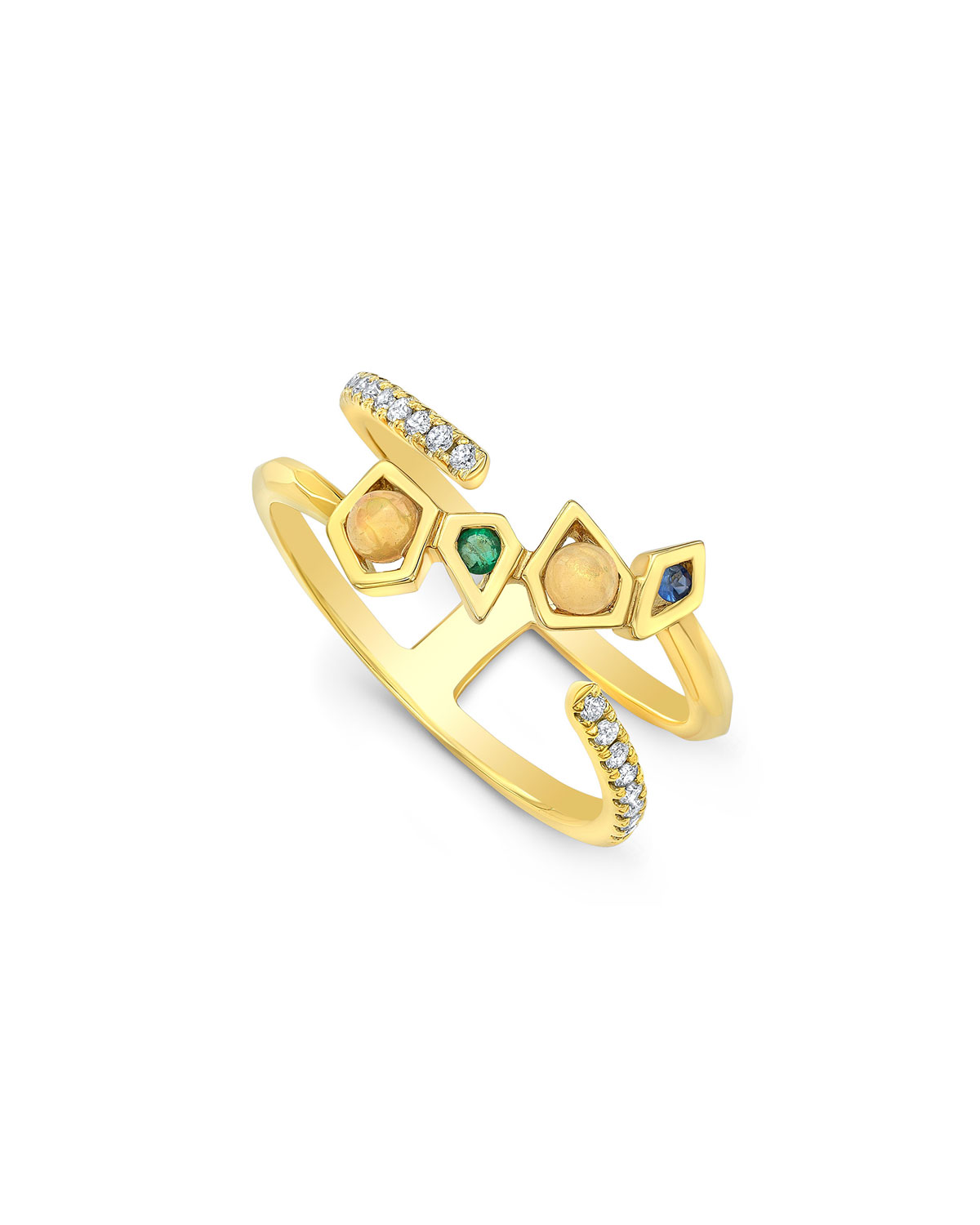 RON HAMI 14K Gold Mixed-Stone Crossover Ring