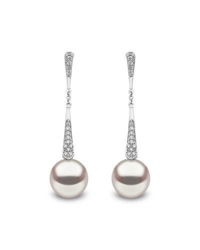 18k White Gold Pearl & Diamond Linear Drop Earrings
