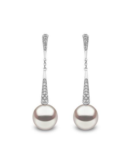 Yoko London 18k White Gold Pearl & Diamond Linear Drop Earrings