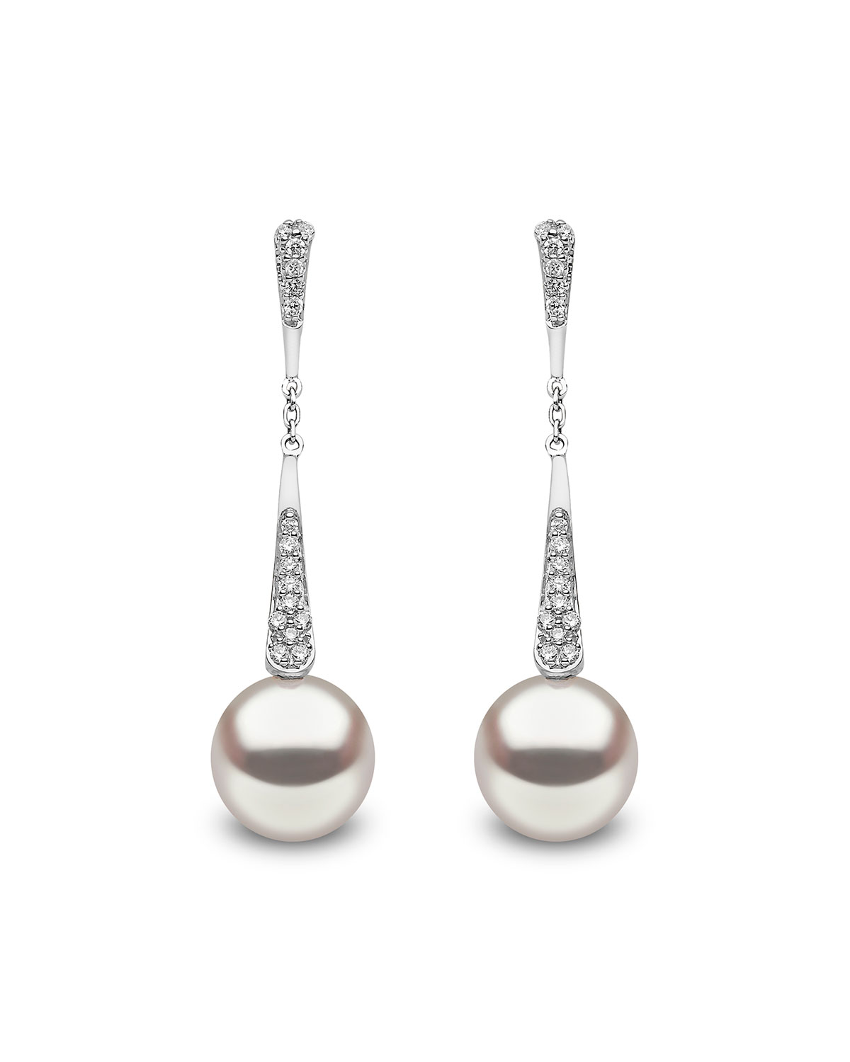 YOKO LONDON 18K White Gold Pearl & Diamond Linear Drop Earrings