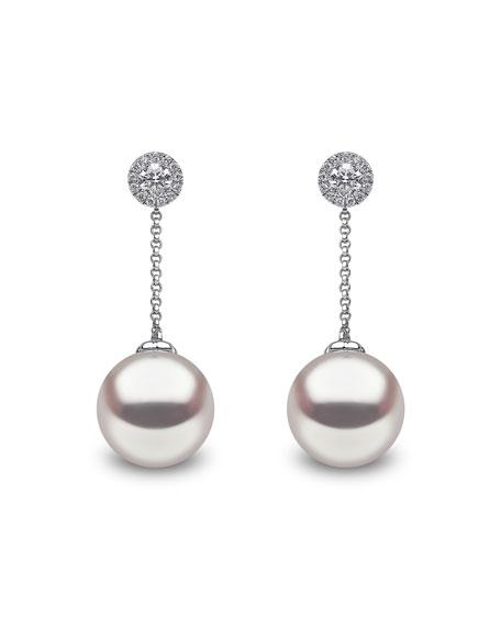 Yoko London 18k White Gold Diamond Posts & Pearl Drop Earrings