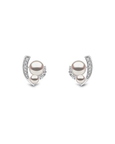 18k White Gold Pearl & Asymmetric Diamond Stud Earrings