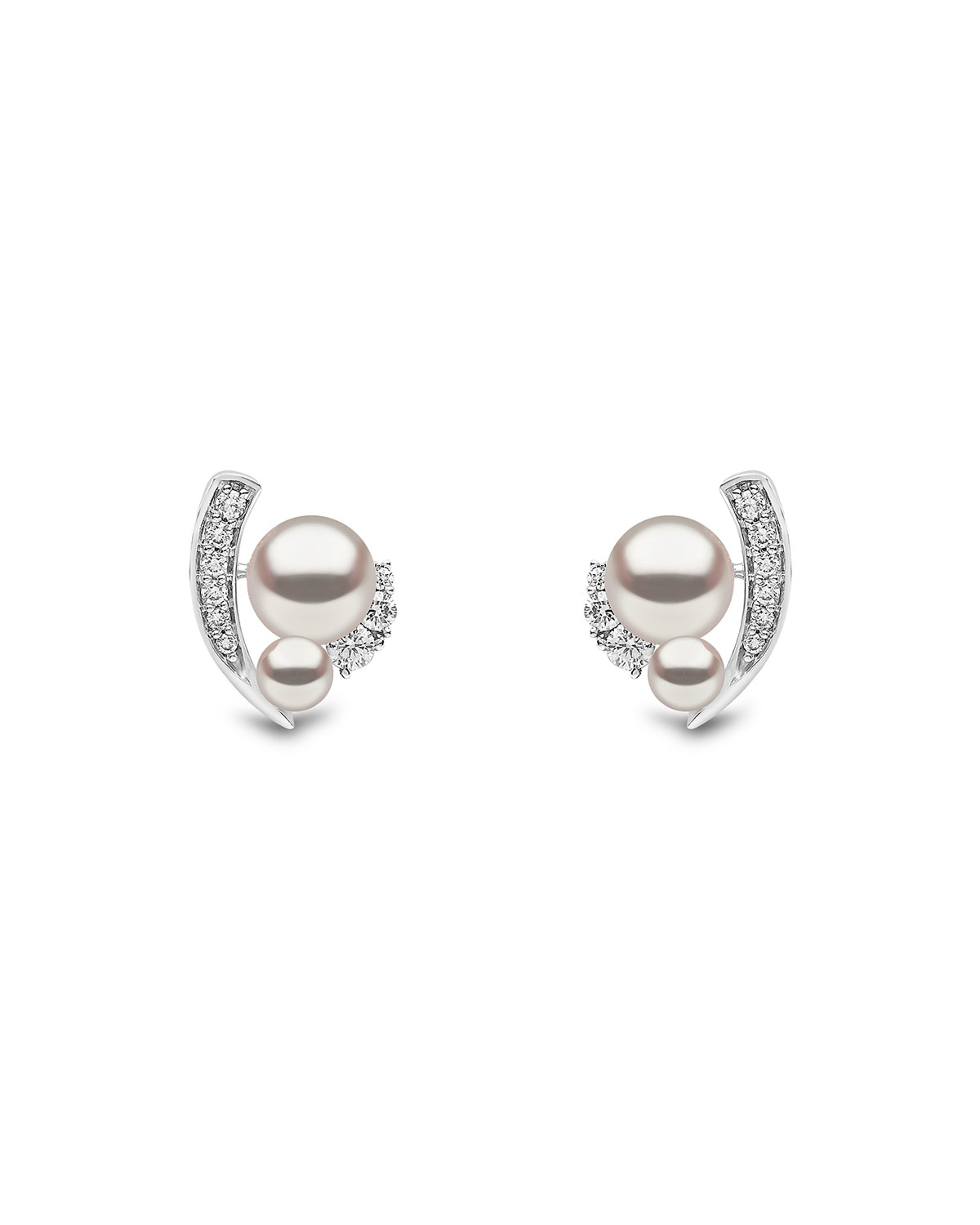 YOKO LONDON 18K White Gold Pearl & Asymmetric Diamond Stud Earrings