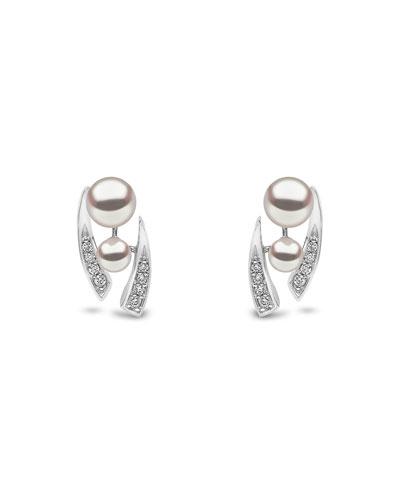 18k White Gold Pearl & Tapered Diamond Stud Earrings
